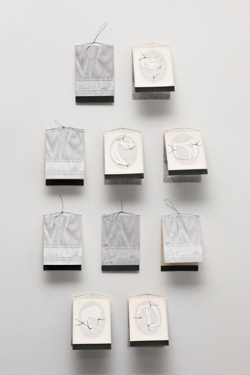 Single use display cards, installation view, digital print on archival matte paper, cotton-rag paper, linen thread, each 19.3cm x 6.8cm open, 10cm x 6.8cm closed, 2010