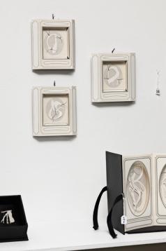 Treasured specimen 1, 2, 3, installation view, digital print on archival matte paper, cotton-rag paper, linen thread, 12.5cm x 12.5cm x 2cm each, 2010