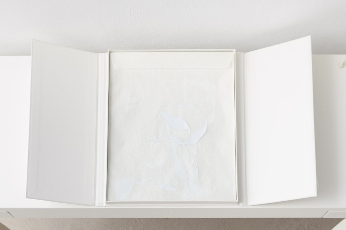 Untitled (rest), installation view, solander box with 18 interchangeable glassine envelopes, graph paper, Japanese rice paper, two cushions, 49cm x 75cm open (approximately), 49cm x 37.4cm x 2.2cm closed, 2014