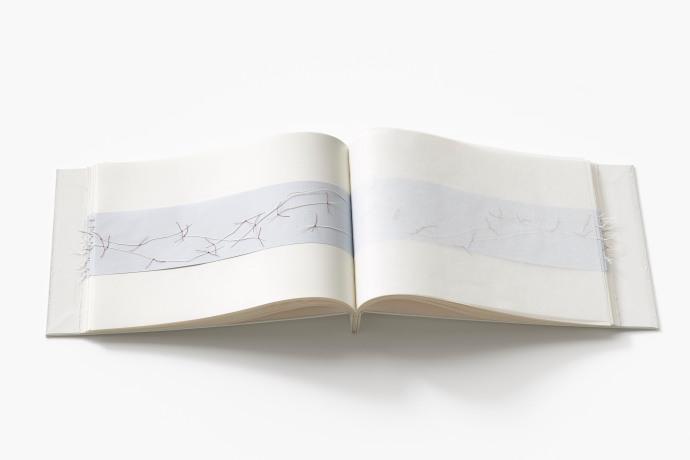 Untitled (map book), page detail, cotton-rag paper, graph paper, tracing paper, cotton thread, box board, 26cm x 80cm x 2cm open, 26cm x 41cm x 2cm closed, 2013-2014
