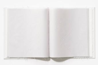 Untitled (shard book), page detail, drafting film, cotton-rag paper, graph paper, cotton thread, box board, 37cm x 61.5cm x 4cm open, 37cm x 30.6cm x 2cm closed, 2013-2014
