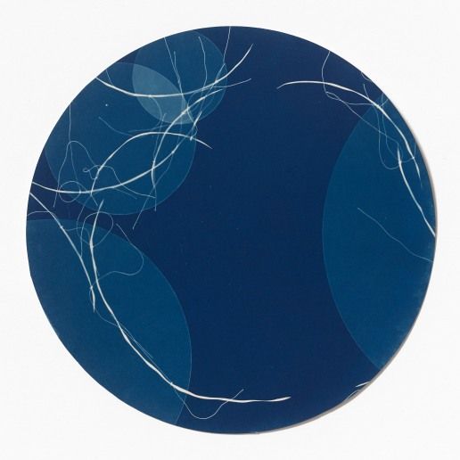 Untitled (blueprint 8), cyanotype on hot-pressed watercolour paper, 30cm diameter, 2014-2015