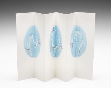 Untitled (concertina cabinet book), cotton-rag paper, graph paper, cotton thread, 20cm x up to 36cm open, 20cm x 6cm closed, 2011-2012