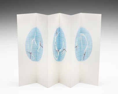Untitled (concertina cabinet book), cotton-rag paper, graph paper, cotton thread, 20cm x up to 36cm open, 20cm x 6cm closed, 2011-2012