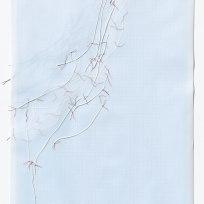 Untitled (form), panel 18, silk paper, graph paper, drafting film, cotton-rag paper, cotton thread, 59.5cm x 42cm, 2014