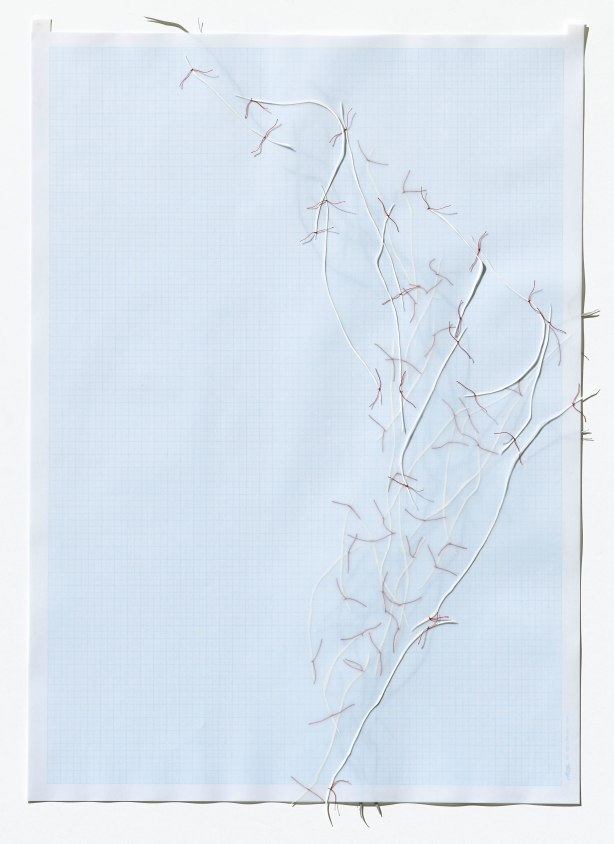 Untitled (form), panel 17, silk paper, graph paper, drafting film, cotton-rag paper, cotton thread, 59.5cm x 42cm, 2014