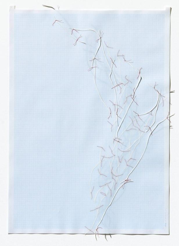 Untitled (form), panel 17, silk paper, graph paper, drafting film, cotton-rag paper, cotton thread, 59.5cm x 42cm, 2014