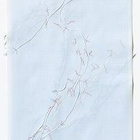 Untitled (form), panel 14, silk paper, graph paper, drafting film, cotton-rag paper, cotton thread, 59.5cm x 42cm, 2014