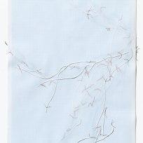 Untitled (form), panel 13, silk paper, graph paper, drafting film, cotton-rag paper, cotton thread, 59.5cm x 42cm, 2014