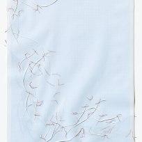 Untitled (form), panel 11, silk paper, graph paper, drafting film, cotton-rag paper, cotton thread, 59.5cm x 42cm, 2014