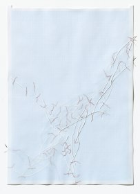 Untitled (form), panel 10, silk paper, graph paper, drafting film, cotton-rag paper, cotton thread, 59.5cm x 42cm, 2014