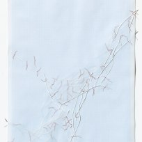Untitled (form), panel 10, silk paper, graph paper, drafting film, cotton-rag paper, cotton thread, 59.5cm x 42cm, 2014