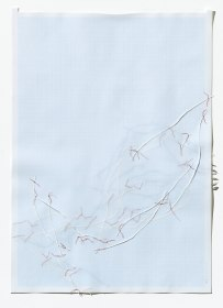 Untitled (form), panel 7, silk paper, graph paper, drafting film, cotton-rag paper, cotton thread, 59.5cm x 42cm, 2014