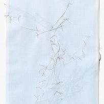 Untitled (form), panel 4, silk paper, graph paper, drafting film, cotton-rag paper, cotton thread, 59.5cm x 42cm, 2014
