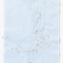 Untitled (form), panel 3, silk paper, graph paper, drafting film, cotton-rag paper, cotton thread, 59.5cm x 42cm, 2014