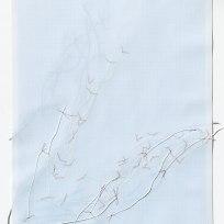 Untitled (form), panel 2, silk paper, graph paper, drafting film, cotton-rag paper, cotton thread, 59.5cm x 42cm, 2014