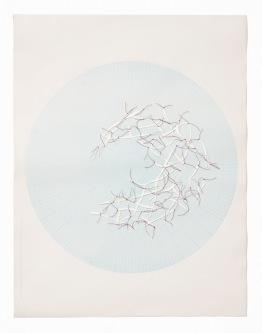 Untitled (polar graph 2), polar graph paper, drafting film, cotton-rag paper, cotton thread, 42.5cm x 33cm, 2012