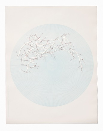 Untitled (polar graph 3), polar graph paper, drafting film, cotton-rag paper, cotton thread, 42.5cm x 33cm, 2012