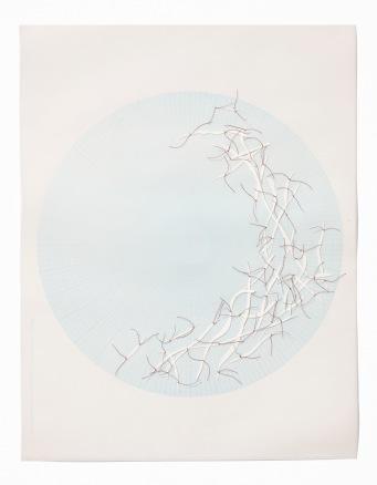 Untitled (polar graph 7), polar graph paper, drafting film, cotton-rag paper, cotton thread, 42.5cm x 33cm, 2012