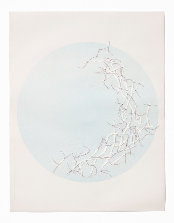 Untitled (polar graph 7), polar graph paper, drafting film, cotton-rag paper, cotton thread, 42.5cm x 33cm, 2012