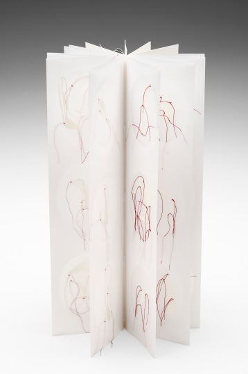 Untitled (transparent triple-story cabinet book), drafting film, cotton-rag paper, cotton thread, dimensions variable open, 36cm x 10cm closed, 2011-2012