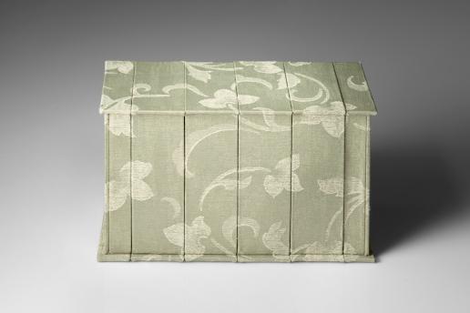 Sliced box view, upholstery fabric, box board, cotton-rag paper, felt, 16cm x 24.3cm x 10.5cm closed, 2009