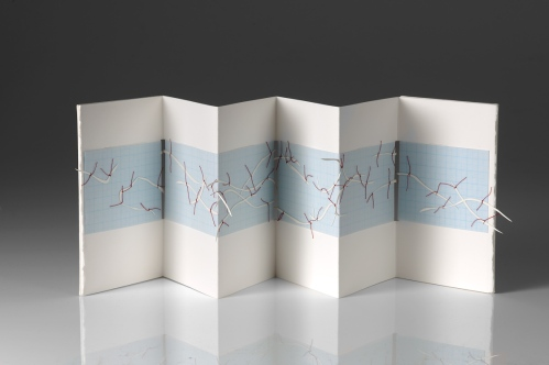 Untitled (concertina map book - prototype), cotton-rag paper, graph paper, tracing paper, cotton thread, mount board, 15cm x up to 50cm x .3cm open, 15cm x 13.5cm x 1.5cm closed, 2011
