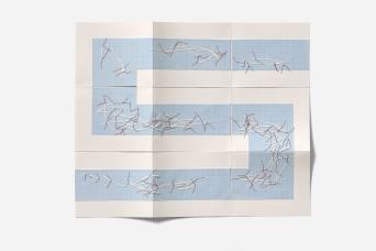 Untitled (single sheet maze book), cotton-rag paper, graph paper, tracing paper, cotton thread, 35cm x 42cm open, 13cm x 16.2cm x .8cm closed, 2013