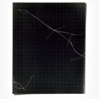 Untitled (written with light), panel 2, photogram on resin-coated paper, 25.4cm x 20.3cm, 2014