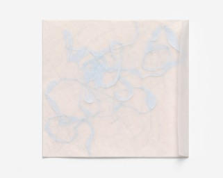 Untitled (remainder), glassine envelope, graph paper, silk paper, watercolour paper, polyester thread, 2016