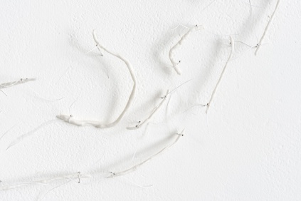 Untitled (reallocated) detail, southern ice porcelain, dressmaking pics, linen thread, dimensions variable, 2016
