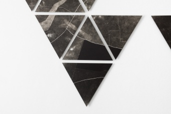 Charting, photograms on fibre based photographic paper, installation detail east wall 2, each print approximately 28cm x 28cm, 2019