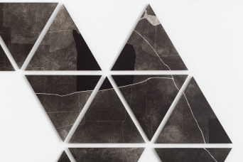 Charting, photograms on fibre based photographic paper, installation detail south wall, each print approximately 28cm x 28cm, 2019