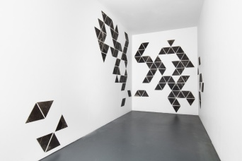 Charting, photograms on fibre based photographic paper, installation view 1, dimensions variable 2019
