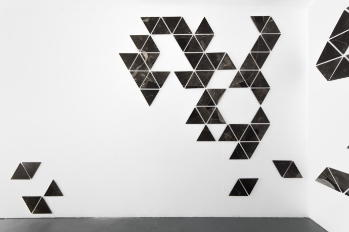 Charting, photograms on fibre based photographic paper, installation view 2, dimensions variable, 2019